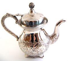 Ornate Mid Century Vintage Silver Teapot  by knottychicshop, $110.00