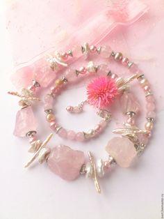 """Купить """"Розовый сон"""" бусы из натуральных камней. Розовый кварц. Жемчуг. - бледно-розовый"""