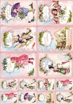 Calambour paper, glossy, light with great adhesion. Pattern: children, angels, snowman, umbrella, pine needles, butcher's broom, writing.