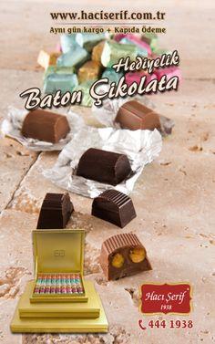 """""""Baton çikolatalarımız şimdi özel kutularında"""" #hediye #baton #çikolata #hacışerif #haciserif #4441938 #chocolate #yummy #gift  http://www.haciserif.com.tr/baton-cikolata-hediyelik.html"""