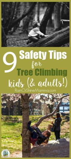 9 Safety Tips for Kids Climbing Trees. Does your tree climbing child make you nervous? These tips will ease your own fears and help your child learn how to negotiate risk. Rain or Shine Mamma. #treeclimbing #kids #tree #riskyplay