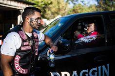 Captain Sondog Notorious lights a smoke in his custom Harley truck, as Captain Chudogg Hawkes Bay leans on it. Mongrel, Biker Clubs, Biker Gear, Red Vs Blue, Custom Harleys, Auckland, Fast Cash, Trucks, Smoke