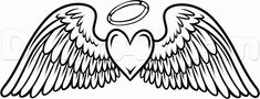 Coloring Pages of Crosses with Wings | how to draw angel wings tattoo step 7