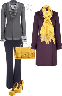 """""""Grey and Yellow"""" by mwhitten ❤ liked on Polyvore"""