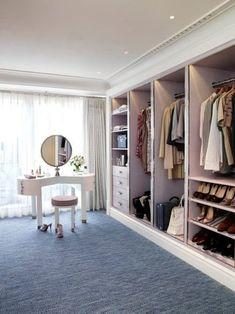Concepts in wardrobe design. Storage ideas, hardware for wardrobes, sliding wardrobe doors, modern wardrobes, traditional armoires and walk-in wardrobes. Closet design and dressing room ideas. Dressing Room Closet, Wardrobe Closet, Closet Bedroom, Closet Space, Walk In Closet, Dressing Rooms, Dressing Table, Pink Closet, Open Wardrobe