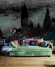 Soft Celadon Velvet Sofa  Check. Bright Colorful Pillows  Check. Scary  Gothic Wall
