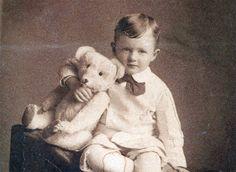 vintage photo Little Boy w Long nose Steiff Teddy Bear by maclancy