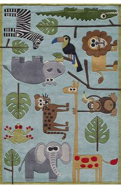 $5 Off when you share! Momeni Lil Mo Whimsy LMJ19 Blue Rug | Kids Rugs #RugsUSA