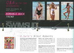 B. Swim Designer, Nikol Roberts interview in Surfing Magazine Swimsuit Issue