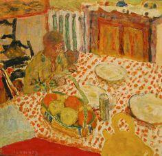 Pierre Bonnard, Marthe et son Chien assise devant une table, 1930, oil on canvas,