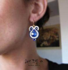 small blu soutache earring with Swarovski Soutache Earrings Soutache Earrings, Etsy Earrings, Earrings Handmade, Handmade Jewelry, Drop Earrings, Swarovski, Shibori, Craft Accessories, Artificial Leather