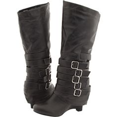 Excellent black boot with a wedge and buckle detail