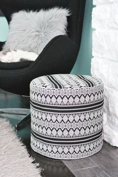 Drum Floor Pouf DIY abeautifulmess.com (filled with beanbag filling)