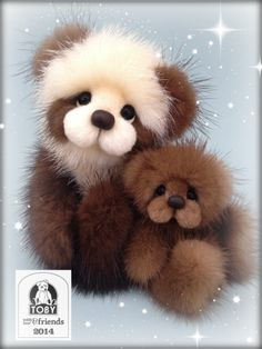 Artist mink teddy bear by Helen Gleeson of Bare Cub Designs. Po and Frappe my 2 latest stars, both winning 2014 Toby Awards!