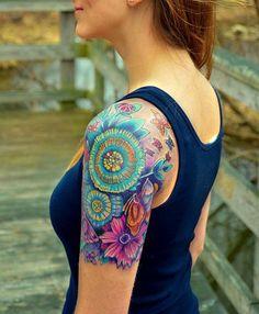 Sleeve Tattoo for Girls Knuckle Tattoos, Wrist Tattoos, Body Art Tattoos, Tatoos, Paisley Flower Tattoos, Skull Tattoo Flowers, Paisley Tattoo Design, Shoulder Tattoos For Women, Sleeve Tattoos For Women