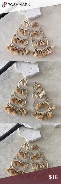 """💕💝❤️CHRIS Small Tan Tassels Drop Earrings CHRIS Small Tan Tassels Drop Earrings  Length 3.75"""".  Nickel & Lead compliant. Imported. Available in Pink and Black.    FREE WITH PURCHASE: Cute organza drawstring pouch for storage or for gifting.    🛍Bundle & Save!! 10% 3+ items  💞No Trades MischkaPu Jewelry Earrings"""