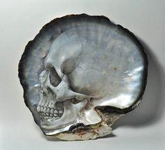 Sculptures de crânes dans des coquilles dhuitres par Gregory Halili Photo