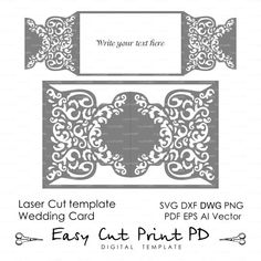 Wedding invitation Pattern Card Template от EasyCutPrintPD на Etsy
