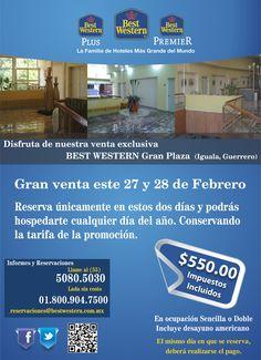 Gran venta este 27 y 28 de febrero, conoce Iguala, Guerrero por $550.00 pesos por noche.
