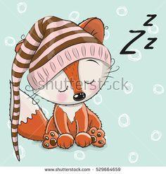 Sleeping cute Fox in a hood on a white background