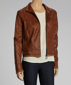 Feel fashionable and guilt-free in this sleek faux leather jacket. Featuring cool details like subtle pleating, a cappuccino-drenched look and trendy leopard lining, it's undeniably edgy.Measurements (size S): 21'' long from high point of shoulder to hem55% polyurethane / 45% viscoseHand wash; hang dry