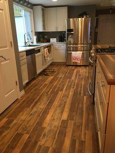 My dream kitchen. Karndean Van Gogh vintage pine flooring. Butcher block island. Formica wide plank walnut countertop. White kitchen