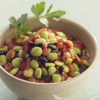 Mediterranean Lima Beans recipe from Eating Well via Fitness Magazine. 190 calories per serving; reduce amount of evoo for fewer calories.