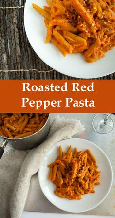 Roasted Red Pepper Pasta  #vegan #glutenfree This pasta is made from lentils and quinoa - with 14 grams of protein per serving!