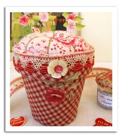 cute pincushion- from a terracotta pot ...[site is gone]