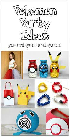 Pokemon Party Ideas: Including mason jar Pokemon, a Poliwag Lantern, loom band team bracelets, a Pokeball visor and more.