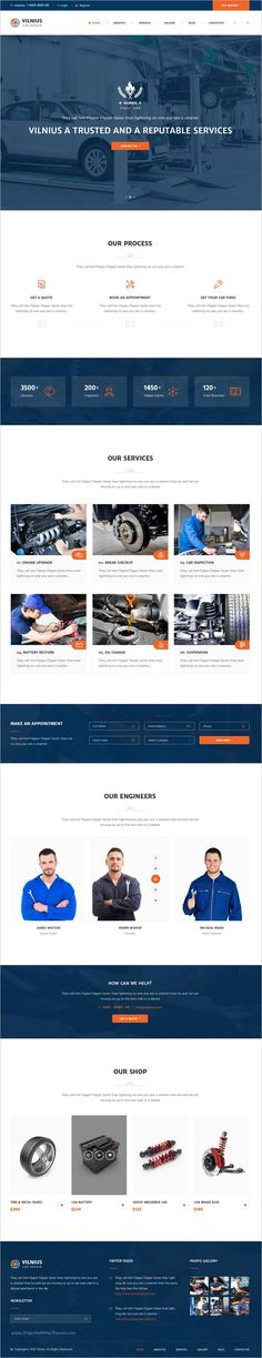 Vilnius is a perfect #Photoshop Template for #garage #Car Repair Services #websites with 5 unique homepage layouts and 15 organized PSD pages download now➩  https://themeforest.net/item/vilnius-car-repair-psd-template/18662994?ref=Datasata
