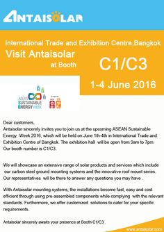Antaisolar -solar mounting systems provider in China ,made its debut in ASEAN sustainable energry week in Thailand.