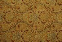 5758112 RICHARDS NIGHT SAGE Chenille Fabric-Richards Night Sage is a rich paisley pattern in Antique Gold, Cranberry, Olive and Rust tone