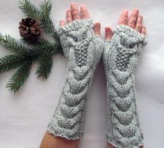 Eule leichte graue lange Hand gestrickte Arm Warmers fingerlose Handschuhe, Frau Handschuhe, Eco-Friendly, Weihnachtsgeschenk