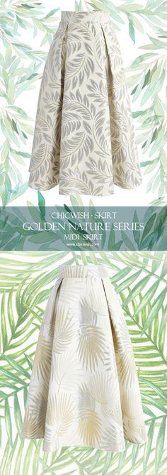 Chicwish Golden Nature Series Jacquard midi skirt www.chicwish.com