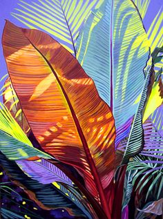 Bold Botanical Acrylic Painting: Painting of Tropical Plant by Carol Sims Textures Patterns, Print Patterns, Plant Painting, Painting Art, Tropical Pattern, Tropical Plants, Exotic Plants, Tropical Colors, Tropical Leaves