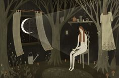 London-based illustrator Alexandra Dvornikova animates enchanting moments in darkened woods, where fluorescent fungi flickers in the night and woodland creatures carry candles on their heads. Dvornikova shares more of her storybook images on Instagram and also sells prints through Society6.