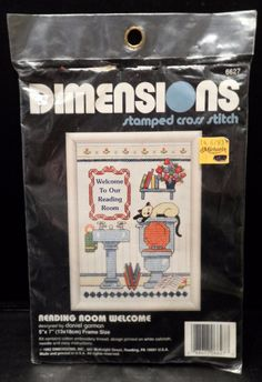 """$7.98/Stamped Cross Stitch Kit #6627 by Dimensions, """"Reading Room Welcome"""" ~Stitchery Needlearts Needlework Stitchers https://www.etsy.com/shop/ShellysSweetFinds"""