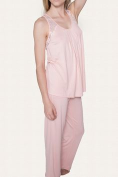 Make it a beautiful night in these luxurious pajamas - Soft lace detail on  shoulder and 87a3b83aa