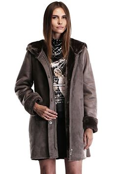 Ovonzo Womens Faux Suede Leather Zipper Snap Button Coat with Hood Size XL *** Learn more by visiting the image link.