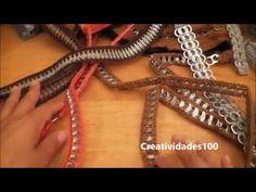 Como hacer una bolsa con fichas de refresco de lata: Bolso Fernanda parte 2 - YouTube