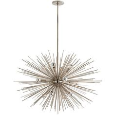 Arteriors Zanadoo Large  Silver Chandelier ($3,900) ❤ liked on Polyvore featuring home, lighting, ceiling lights, lights, transitional lamps, arteriors lamps, silver chandelier light, transitional chandelier and arteriors