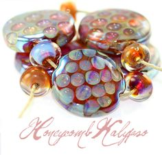 handmade glass lampwork beads HoneyComb Kalypso set by Radiantmind sra