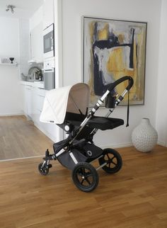 Bugaboo Cameleon in Dark Grey and Off White. New mom must have. Simply the best stroller says mums who know.