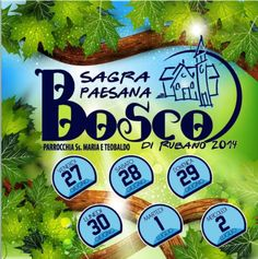 Sagra Paesana Bosco di Rubano - Bosco local Festival, June 27-30 and July 1-2, 2014,  in Bosco (Rubano, Padova), about 21 miles southeast of Vicenza; food booths featuring bigoli, gnocchi, grilled meat and polenta open at 7:30 p.m.; bounce houses and charity raffle; fitness and dance shows; live music and dancing start at 9 p.m