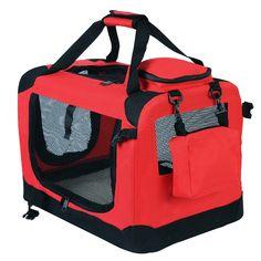 WOLTU HT2025rt Hundebox Hundetransportbox Auto Transportbox Reisebox Katzenbox mit Hundedecke faltbar 49,5x34,5x35cm, Rot… | Woltu