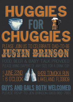 Huggies for Chuggies Diaper Party Invitation by ChevronDreams, $9.00