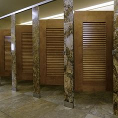 Ironwood Manufacturing Louvered Door Toilet Partition With Beautiful Stone  Pilasters And Panels