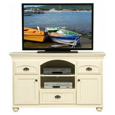 Eagle Furniture American Premiere Customizable 58 in. Entertainment TV Stand with 2 Drawers - 16157WP