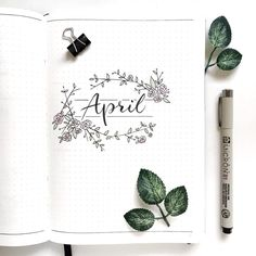 Bullet journal monthly cover page, April cover page, hand lettering, Rose doodles, flower doodles. | @merakumi